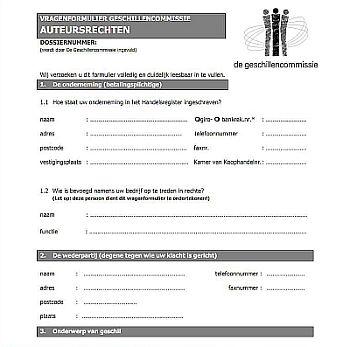 Klachtenformulier van de Geschillencommissie Auteursrechten