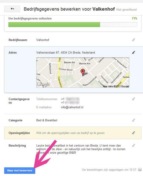 GooglePLUS voor B&B
