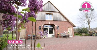 Beste Bed en breakfast van Nederland 2017 categorie 4 tulpen