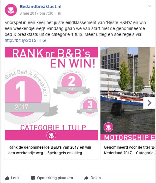 Beste B&B van Nederland 2017